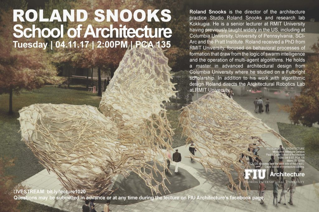 Lecture: Roland Snooks - Department of Architecture