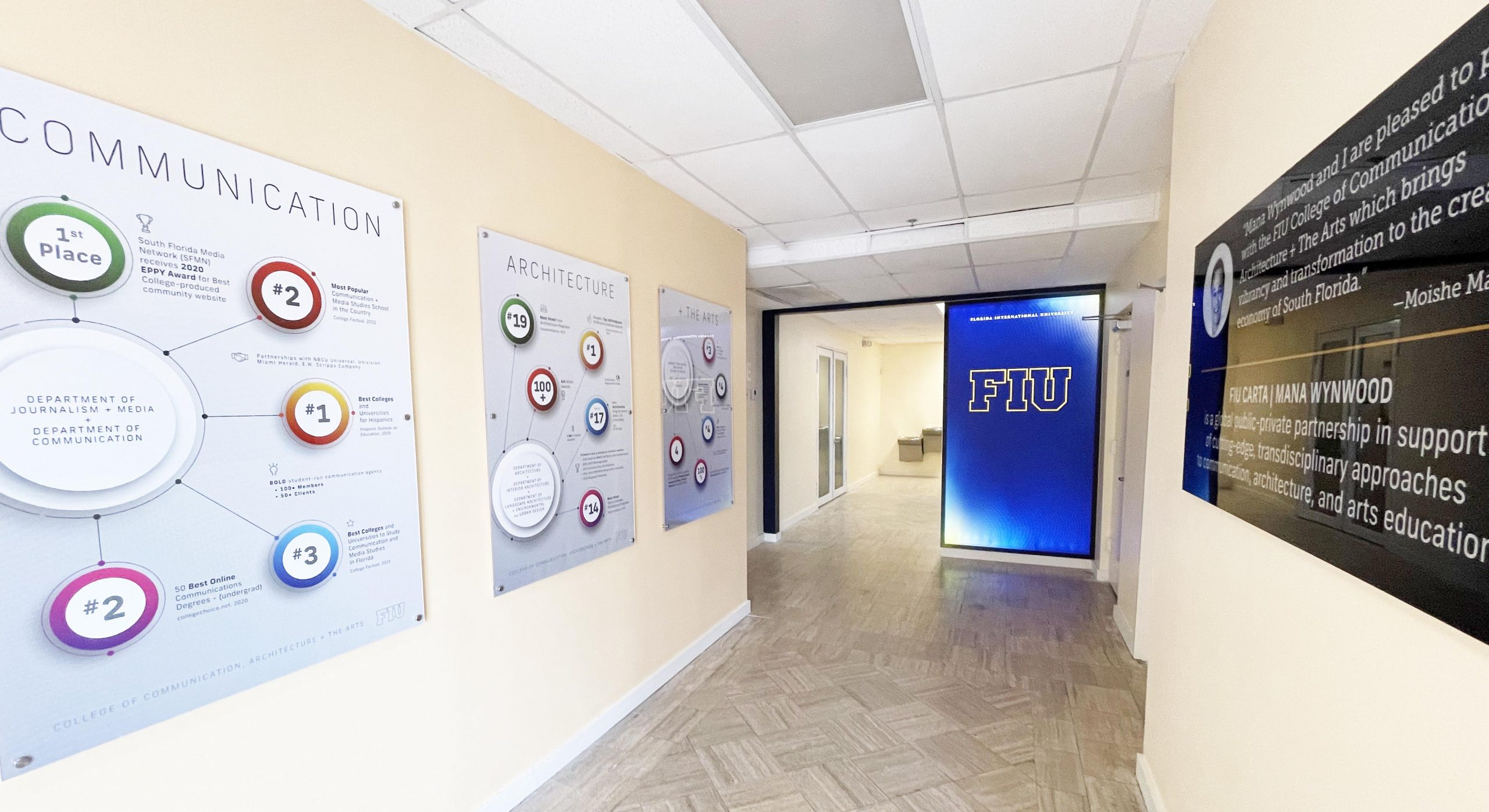 Image of the entry to the space with posters on the walls