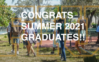 This image had a text that says Congrats Summer 2021 Graduates! It's overlaid on a transparent FIU logo that is in front of students walking through a Miami Beach Park