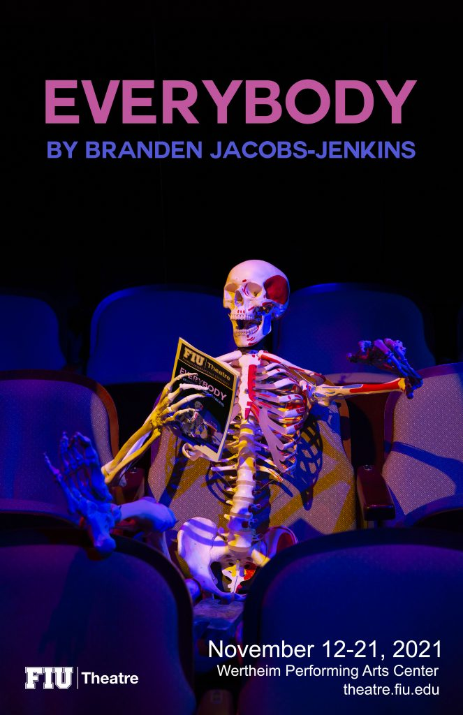 Poster for the theatre show Everybody. Laughing skeleton in audience seat.