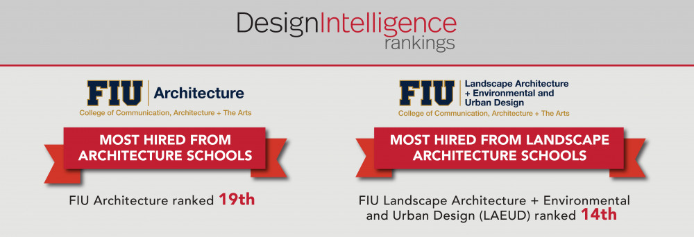 FIU ARCHITECTURE AND FIU LANDSCAPE ARCHITECTURE RANKED BY DESIGN INTELLIGENCE 2019
